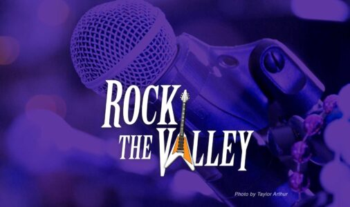 Rock the Valley logo centered on purple microphone